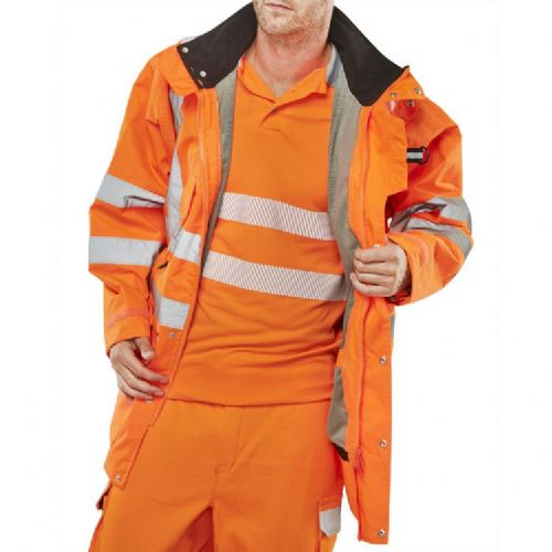 BSeen Hi Vis Orange Elsener 7 in 1 Jacket